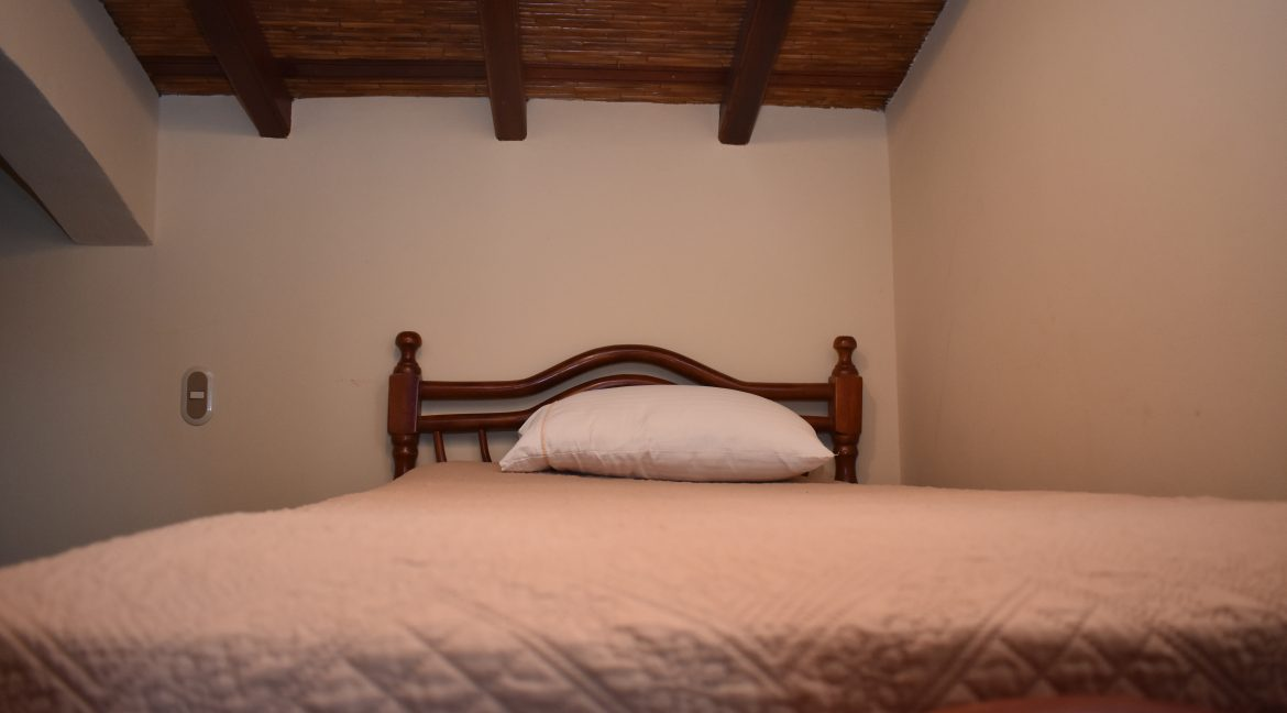 bed and ceiling